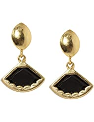 Bindhani Party Wear Fancy Black Gold Plated Earrings For Girls