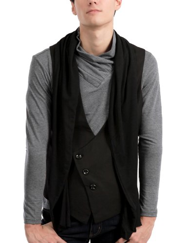 9XIS Mens StunningDesign Casual Scarf Vest BLACK 2XL (9MH006)