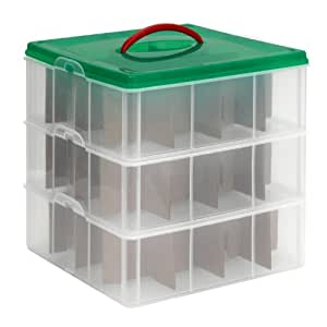 "Snapware #1098785 Snap 'N Stack Seasonal Ornament (3 Trays) 12.25""X 12.25"" Square Layer Storage Containers Set"