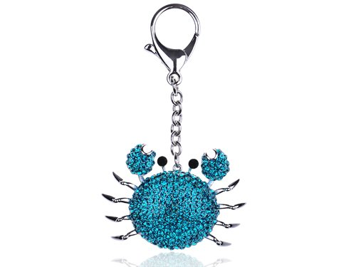 Blue Sea Cartoon Fat Cute Alaskan Crab Swarovski Crystal Rhinestone Keychain