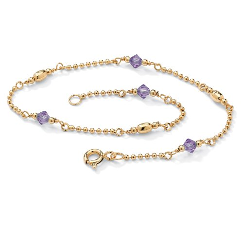 Birthstone 14k Yellow Gold over Sterling Silver Ankle Bracelet - February- Simulated Amethyst