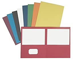 NECI Pocket Portfolio, Letter, 2 Pockets, Assorted Colors, Pack of 25