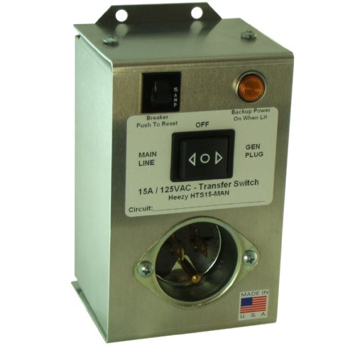 Heezy HTS15 MAN Single Circuit 15 Amp Manual Transfer Switch Powers ...