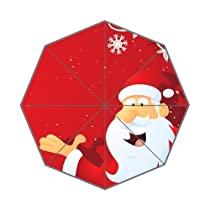 Custom Auto Foldable Umbrella with Printed Santa Claus Design