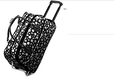 LIGHTWEIGHT (High Quality Fashion) Ladies Travel Bags Holdall Hand Luggage Womens Weekend Handbag Wheeled Trolley (FASHION BAG BLACK WITH WHITE DOTS DESIGN) IDEAL BAG FOR OVERNIGHT & WEEKENDS WOMENS GIRLS TRAVEL FLIGHT LUGGAGE MATERNITY HOSPITAL SPORT GYM
