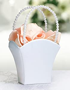 White Flower Girl Basket