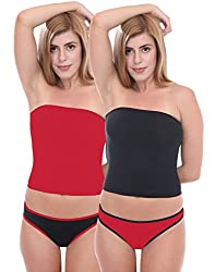 Selfcare Women's Non-Padded Tube Top Camisole And Thong Panty Set (Pack Of 2) (SN0211_Multi_XL)