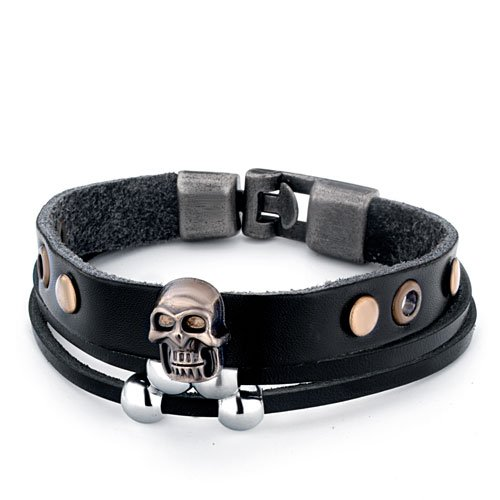 Pugster Double Black Leather Silver Beads Wider Rivets Halloween Skull Bracelet