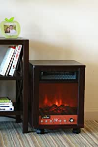 iLIVING ILG958 1500 Watts Electric Portable Fireplace And Space Heater With Remote Control