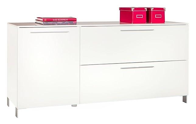 Base soggiorno a due ante e un cassetto laccato bianco lucido