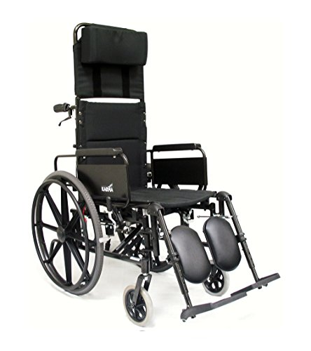 Karman Lightweight Reclining Wheelchair with Quick Release Axles, Black, 18