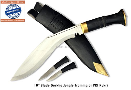 Authentic Gurkha Kukri Knife - Genuine Gurkha Jungle Training or PRI type Kukri with Black Leather Sheath-Handmade by Gurkha Kukri
