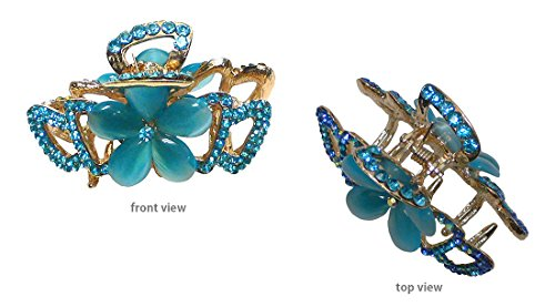 Medium Small Crystal Jaw Clip with Beads and Crystals CI86410-1448aqua