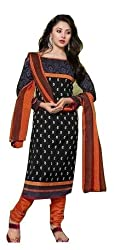 Exquisite & Beyond Womens Pure Cotton Printed Unstitched Salwar Suit _KT-01_Black