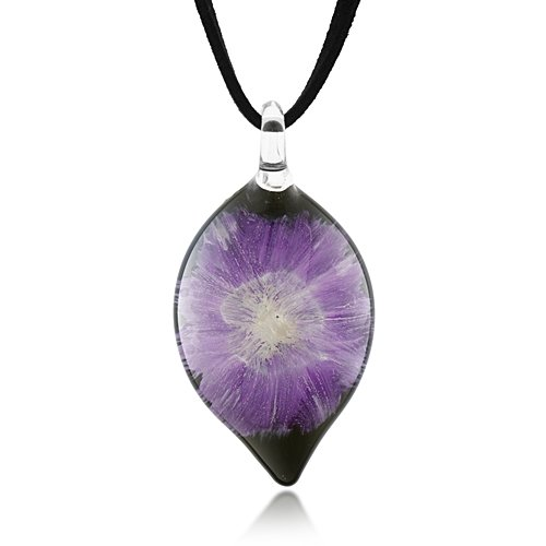 Hand Blown Venetian Murano Glass Purple Orchid Flower Design Teardrop Puff Pendant Necklace 18''-20''- Fashion Jewelry for Women, Teens