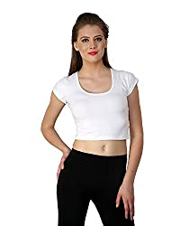 Finesse Women's Regular Fit Crop Top (FCT02_l, White, Large)