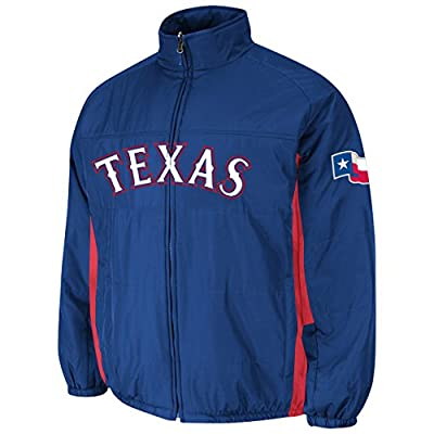 Texas Rangers Royal Double Climate On-Field Jacket by Majestic