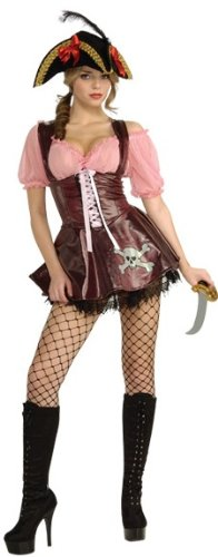 Sexy Adult Womens Costumes Brown Swashbuckler Buccaneer Pirate Dress Costume Theme Party Outfit