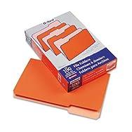 Two-Tone File Folders, 1/3 Cut Top Tab, Legal, Orange/Light Orange, 100/Box