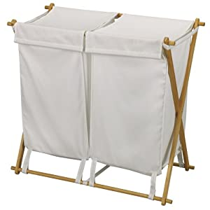Household Essentials Folding Double Bag Laundry Hamper, Polyester Blend