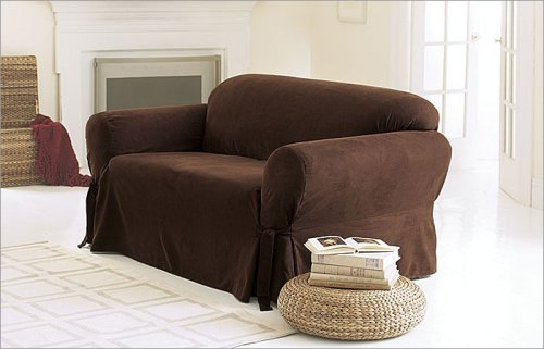 3 Pieces Solid Chocolate Brown Suede Couch/sofa Cover with Loveseat and Chair Slipcover