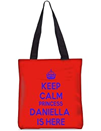 Snoogg Keep Calm Princess Daniella Is Here Fashion Printed Shopping Shoulder Lunch Tote Bag For Women