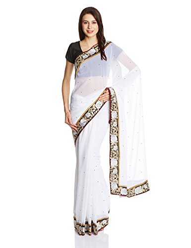 Four Seasons Gorgette Saree with Blouse Piece (White_FS3490)