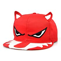 LOCOMO Men Women Embroidered Angry Eye Ear Wolf Baseball Cap Red FFH072RED
