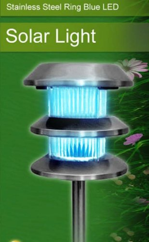 Stainless Steel Ring Blue Led Solar Powered Light For Garden, Patio, Driveway