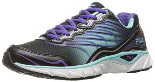 Fila Women's Memory Countdown 3 Running Shoe, Black/Aruba Blue/Electric Purple, 8 M US