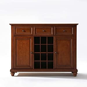 Crosley Furniture Cambridge Buffet Server/Sideboard Cabinet with Wine Storage, Classic Cherry