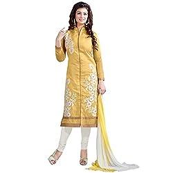 Shoponbit Cool Yellow Long Chanderi Salwar Suit