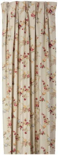 Fireside Floral Pinch Pleated 48-Inch-by-84-Inch Thermal Insulated Drapes, Linen
