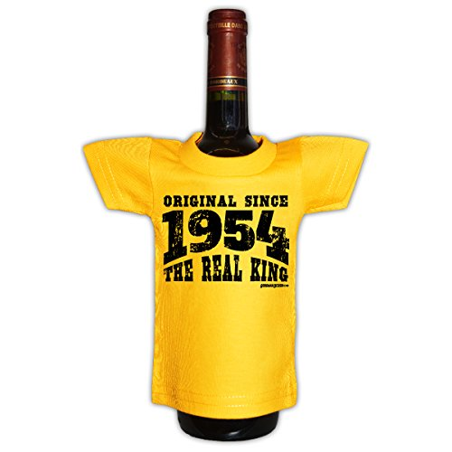 originelle flaschenverpackung zum 61 geburtstag mini t shirt original since 1954 the real king. Black Bedroom Furniture Sets. Home Design Ideas
