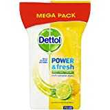 Dettol Anti Bacterial Multi Action Power and Fresh Sparkling Lemon and Lime 72 Large Wipes (Pack of Eight)