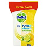 Dettol Anti Bacterial Multi Action Power and Fresh Sparkling Lemon & Lime 72 Large Wipes (Pack of 8)