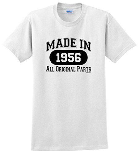 60th Birthday Decorations 60th Birthday Gift Made 1956 All Original Parts T-Shirt Small White