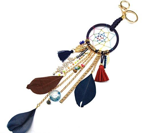PT788D-Porta-chiavi, gioiello da borsetta Acchiappa-sogni Dreamcatcher con ciondolo e piume etnica-Modalità fantasia, colore: blu marino