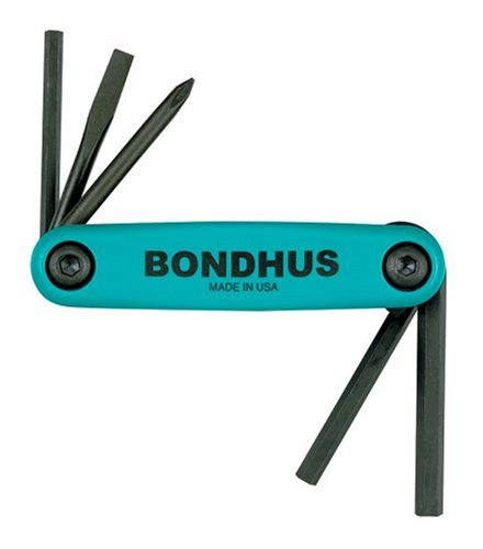 Bondhus 12540 GorillaGrip Fold-up Utility Set, #1 Phillips, 3/16-Inch Slotted, 4mm Hex, 5mm Hex, and 6mm Hex