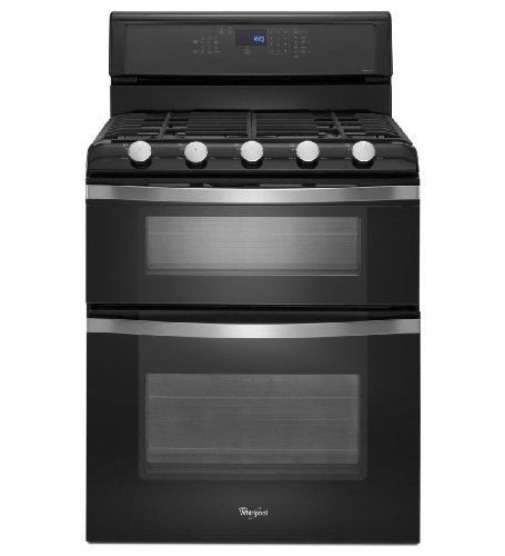 "Whirlpool Wgg755S0Be 30"" Black Ice Gas Sealed Burner Double Oven Range - Convection front-14833"