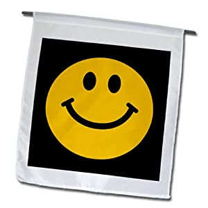 3dRose fl_76654_1 Garden Flag, 12 by 18-Inch, Yellow Smiley Face-Cute Traditional Happy Smilie-1960S Hippie Style-Smiling on Black