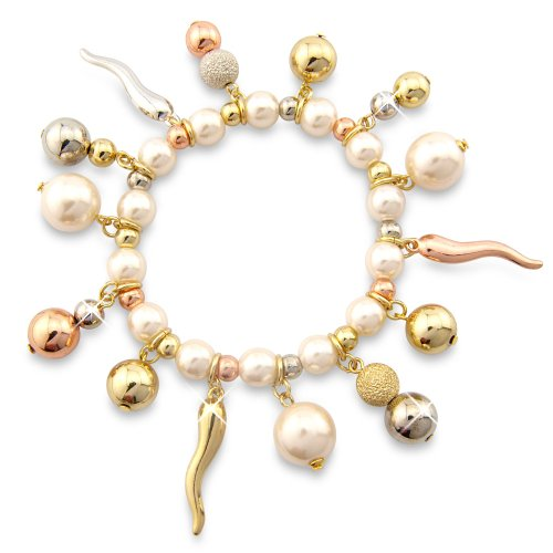 WHITE PEARL CHARM BRACELET WITH SILVER COPPER BRONZE AND GOLD TONE BALLS - GIFT PRESENT FOR HER
