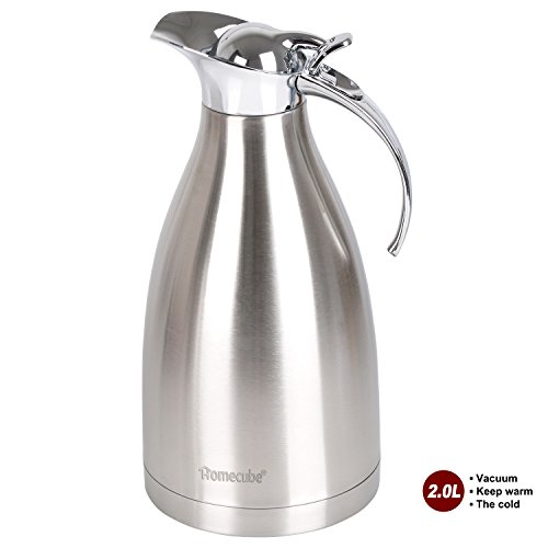Thermal Carafe, Homecube 85 Oz Big Capacity Coffee Carafe Double-Wall Vacuum Insulated Coffee Pot Insulation Jug Flask,Tea Pot 304 Stainless Steel (Double Walled Electric Kettle compare prices)
