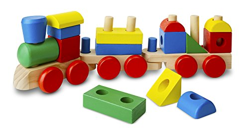 Melissa & Doug Stacking Train - Classic Wooden Toddler Toy (18 pcs)