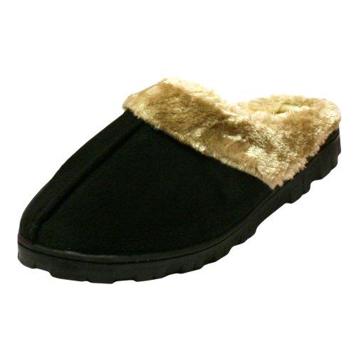Cheap Black Warm Fleece Lined Micro Suede Slip On Shoes (1411 ASST)