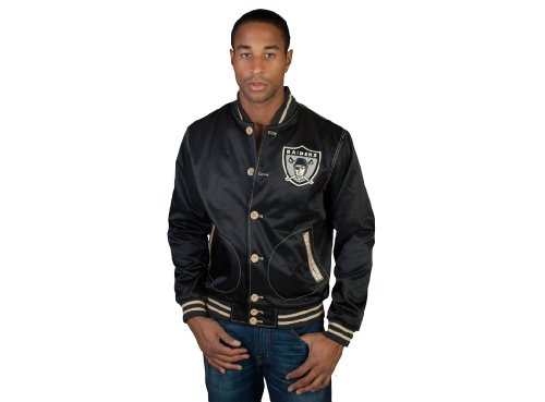 Mitchell & Ness The Oakland Raiders Game Changer Satin Jacket Large Black