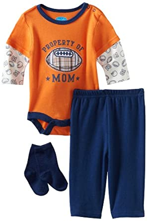 Bon Bebe Baby-boys Newborn Property Of Mom 3 Piece Pant Set, Orange/Navy, 0-3 Months
