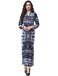 EthnicCrush Women's Cotton Printed Kurti(ECHTBinto1530,Black & White)