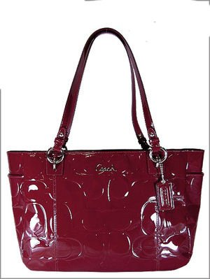 Coach Garnet Red Embossed Patent Leather East West Tote