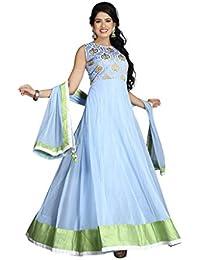 Designer Latest Sky Blue Digital Print Semi Stitched Gown